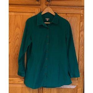J Jill Green Corduroy Tunic Shirt Size Medium